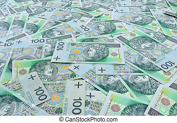 Polish banknotes 100 zloty background - Polish zloty...