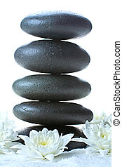 Stack of volcanic pebbles