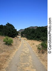 Hill Canyon 3 - Trail through a field beneath blue sky,...