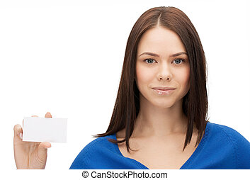attractive businesswoman with business card - picture of...