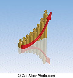 Gold graph with dollars - Gold bar chart with dollar signs...
