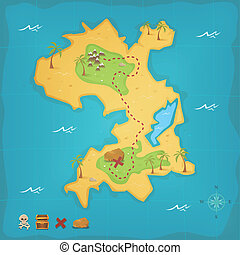 Treasure Island And Pirate Map - Illustration of a cartoon...