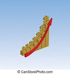 Gold graph with growing dollars - Gold bar chart with dollar...