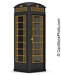 The British black phone booth on a white background