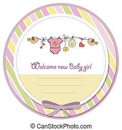 bebê, menina, Chuveiro, cartão