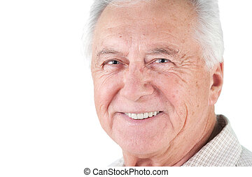 senior citizen man - Senior mature man male portrait smiling