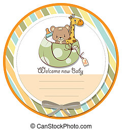 new baby announcement card with bag and same toys