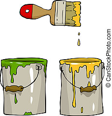 Cartoon paint - Buckets of paint and brush vector...
