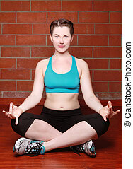 Beautiful Female Working Out With Yoga - Caucasian Female...