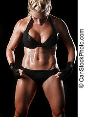 Female With Boxing Gear - Intense Female With Boxing Gear