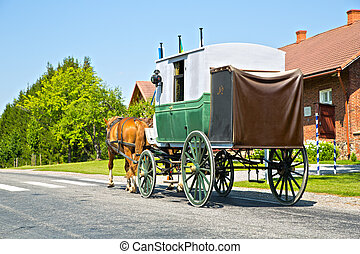 Wagon on road is moving by horses power