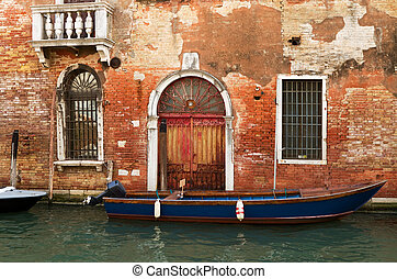 Old building on a canal in Venice.