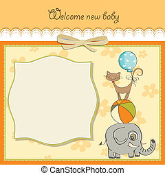 baby shower card with pyramid of animals