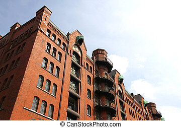 Historic building in the Speicherstadt in Hamburg, Germany,...