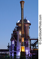 steel industry blast furnace factory or plant abandoned old...