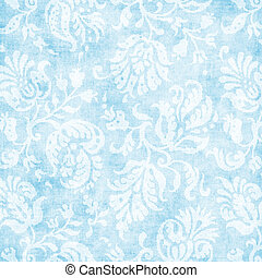 Vintage Pale Blue Floral Tapestry - Worn light blue floral...