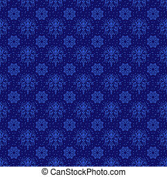 Rich Blue Damask Pattern - Bright blue seamless damask...