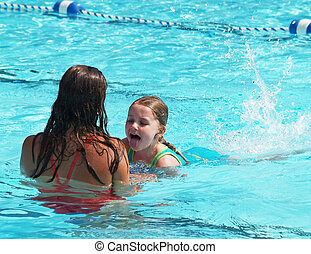 swim lesson girl - little girl tired from swim lessons
