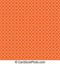 Seamless Orange and White Background - White quatrefoil...