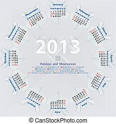 Vector calendar 2013 - Calendar, Holidays and Observances