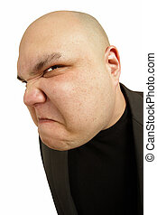 Angry sneer - A bald man with an angry threatening sneer or...