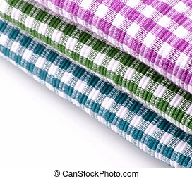 Cloths colored - Several cloths colored squares placed next...