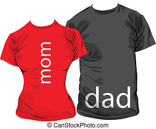 Family tshirts, vector illustration