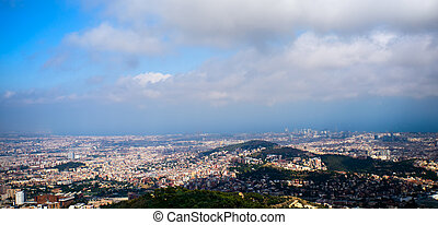Tibidabo panorama - View of barcelona from Tibidabo,...