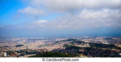 Tibidabo panorama - View of barcelona from Tibidabo,...