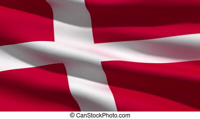 Danish flag, 3d animation perfect seamless loop