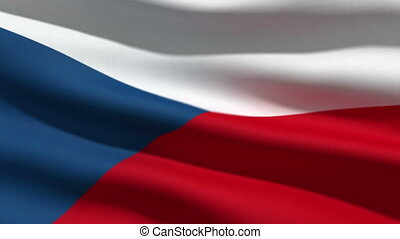 Czech flag, 3d animation. perfect seamless loop