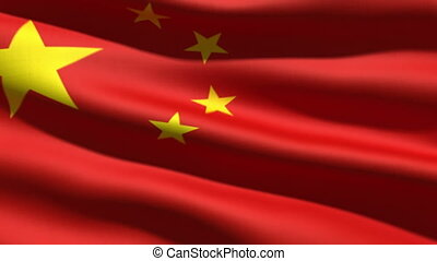 Chinese flag, 3d animation perfect seamless loop