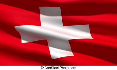 Swiss flag, 3d animation perfect seamless loop
