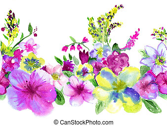 watercolors lilac and yellow flowerses on white background -...