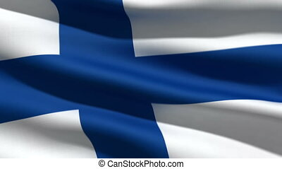 Finnish flag, 3d animation. perfect seamless loop