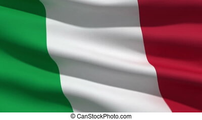 Italian flag, 3d animation perfect seamless loop