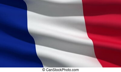 French flag, 3d animation. perfect seamless loop