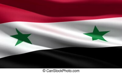 Syrian flag, 3d animation. perfect seamless loop