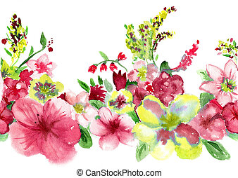 watercolors red and yellow flowerses on white background