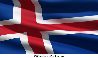 Iceland flag, 3d animation. perfect seamless loop