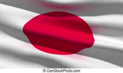 Japanese flag, 3d animation perfect seamless loop