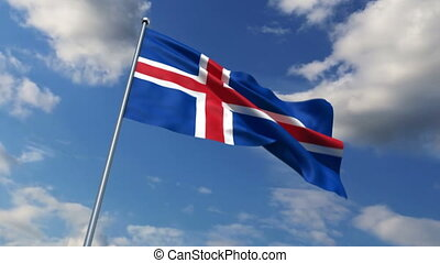 Iceland flag waving against time-lapse clouds background