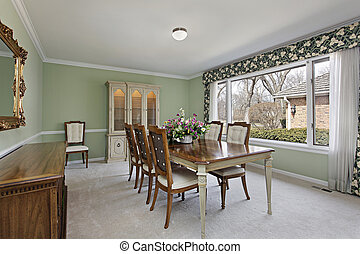 Dining room with lime green walls - Dining room in...