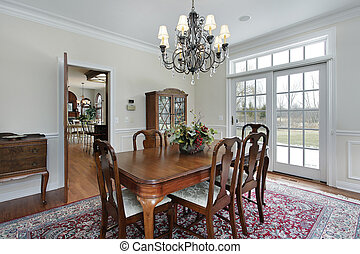 Dining room in suburban home