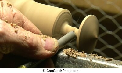 wood turning using a skew chisel - Matakohe, New Zealand man...