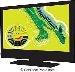 Football game on tv Vector illustration