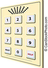 Voice communication - Scutellum with numbers from 1 to 0 and...