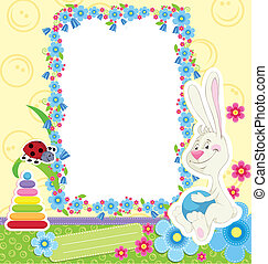 Children frame with rabbit for baby photo album