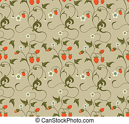 Seamless patterns with strawberries