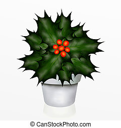A Christmas Holly Tree in White Pot
